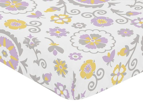 Fitted Crib Sheet for Suzanna Baby/Toddler Bedding by Sweet Jojo Designs - Floral Print - Click to enlarge