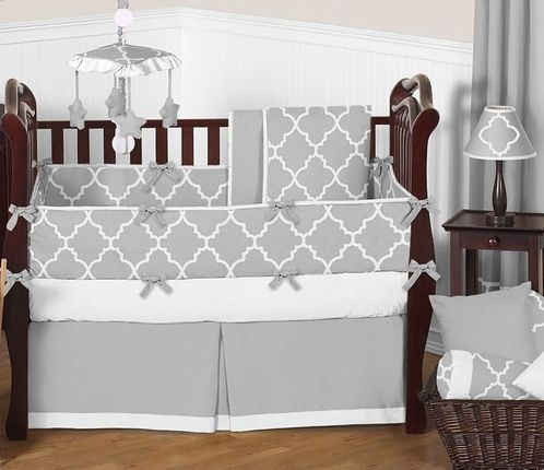 Gray and White Trellis Baby Bedding - 9pc Crib Set by Sweet Jojo Designs - Click to enlarge