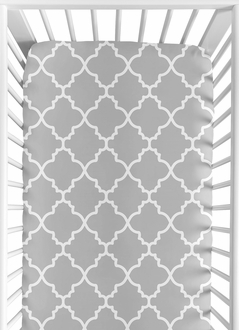 Fitted Crib Sheet for Trellis Baby/Toddler Bedding by Sweet Jojo Designs - Gray and White Print