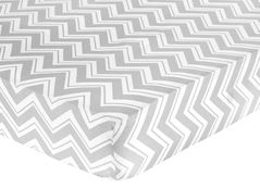 Fitted Crib Sheet for Turquoise and Gray Chevron Zig Zag Baby/Toddler Bedding by Sweet Jojo Designs - Chevron Zig Zag Print