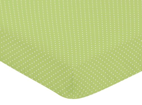 Fitted Crib Sheet for Turquoise and Lime Hooty Owl Baby/Toddler Bedding by Sweet Jojo Designs - Lime Mini Dot - Click to enlarge