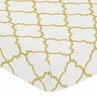 Fitted Crib Sheet for White and Gold Trellis Baby/Toddler Bedding by Sweet Jojo Designs - Trellis Print