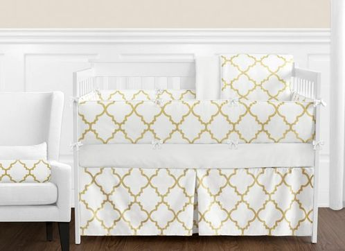 White and Gold Trellis Baby Bedding - 9pc Girls Crib Set - Click to enlarge