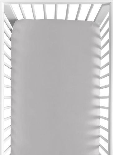 Fitted Crib Sheet for White and Gray Hotel Baby/Toddler Bedding by Sweet Jojo Designs - Gray - Click to enlarge