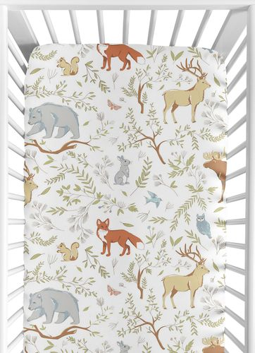 Fitted Crib Sheet for Woodland Animal Toile Baby/Toddler Bedding by Sweet Jojo Designs - Animal Print - Click to enlarge
