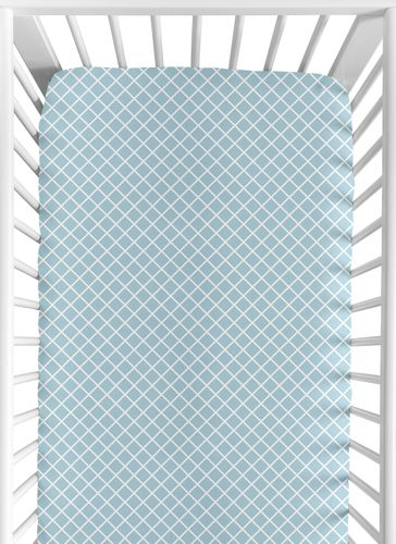 Fitted Crib Sheet for Woodland Animal Toile Baby/Toddler Bedding by Sweet Jojo Designs - Blue Lattice Print - Click to enlarge