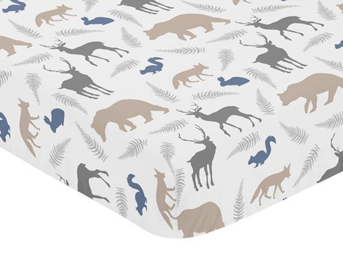 Fitted Crib Sheet for Woodland Animals Baby/Toddler Bedding by Sweet Jojo Designs - Animal Print - Click to enlarge