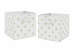 Floral Blossom Foldable Fabric Storage Cube Bins Boxes Organizer Toys Kids Baby Childrens by Sweet Jojo Designs - Set of 2 - Beige and White Watercolor Boho Bohemian Farmhouse Flower Botanical For Yellow Lemon Collection