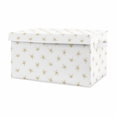 Floral Blossom Girl Small Fabric Toy Bin Storage Box Chest For Baby Nursery or Kids Room by Sweet Jojo Designs - Beige and White Watercolor Boho Bohemian Farmhouse Flower Botanical For Yellow Lemon Collection