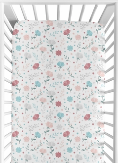 Floral Flower Girl Jersey Stretch Knit Baby Fitted Crib Sheet for Soft Toddler Bed Nursery by Sweet Jojo Designs - Blush Pink Teal Turquoise Aqua Blue Grey Pop Flower Boho Shabby Chic Modern Flowers Colorful Watercolor Wildflower Roses Leaf Daisy Tulip