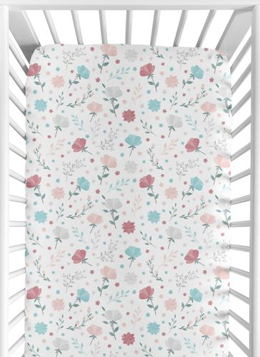 Floral Flower Girl Jersey Stretch Knit Baby Fitted Crib Sheet for Soft Toddler Bed Nursery by Sweet Jojo Designs - Blush Pink Teal Turquoise Aqua Blue Grey Pop Flower Boho Shabby Chic Modern Flowers Colorful Watercolor Wildflower Roses Leaf Daisy Tulip - Click to enlarge