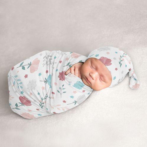 Floral Flowers Baby Girl Cocoon and Beanie Hat 2pc Set Jersey Stretch Knit Sleeping Bag for Infant Newborn Nursery Sleep Wrap Sack by Sweet Jojo Designs - Blush Pink Teal Turquoise Aqua Blue Grey Pop Flower Boho Shabby Chic Modern Colorful Watercolor Wildflower Roses Leaf Daisy Tulip - Click to enlarge