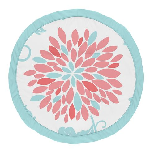 Floral Girl Baby Playmat Tummy Time Infant Play Mat by Sweet Jojo Designs - Turquoise Blue and Coral Flower Emma - Click to enlarge