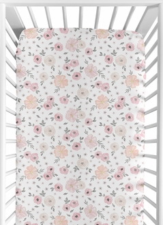 Floral Girl Jersey Stretch Knit Baby Fitted Crib Sheet for Soft Toddler Bed Nursery by Sweet Jojo Designs - Blush Pink, Grey and White Boho Shabby Chic Rose Watercolor Flower