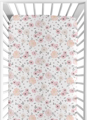 Floral Girl Jersey Stretch Knit Baby Fitted Crib Sheet for Soft Toddler Bed Nursery by Sweet Jojo Designs - Blush Pink, Grey and White Boho Shabby Chic Rose Watercolor Flower - Click to enlarge