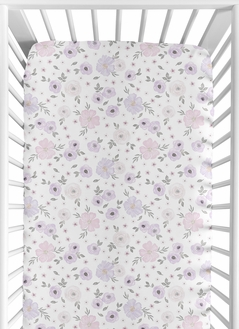 Floral Girl Jersey Stretch Knit Baby Fitted Crib Sheet for Soft Toddler Bed Nursery by Sweet Jojo Designs - Lavender Purple, Pink and Grey Boho Shabby Chic Rose Watercolor Flower