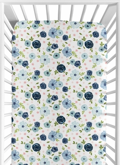 Floral Girl Jersey Stretch Knit Baby Fitted Crib Sheet for Soft Toddler Bed Nursery by Sweet Jojo Designs - Navy Blue and Blush Pink Boho Shabby Chic Rose Watercolor Flower