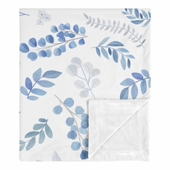 Floral Leaf Baby Boy or Girl Blanket Receiving Security Swaddle for Newborn or Toddler Nursery Car Seat Stroller Soft Minky by Sweet Jojo Designs - Blue Grey and White Boho Watercolor Botanical Flower Woodland Tropical Garden