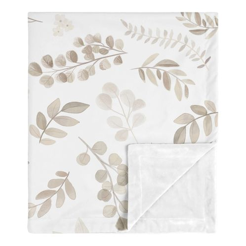 Floral Leaf Baby Boy or Girl Blanket Receiving Security Swaddle for Newborn or Toddler Nursery Car Seat Stroller Soft Minky by Sweet Jojo Designs - Ivory Cream Beige Taupe and White Gender Neutral Boho Watercolor Botanical Flower Woodland Tropical Garden - Click to enlarge