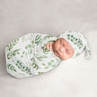 Floral Leaf Baby Boy or Girl Cocoon and Beanie Hat 2pc Set Jersey Stretch Knit Sleeping Bag for Infant Newborn Nursery Sleep Wrap Sack by Sweet Jojo Designs - Green White Boho Watercolor Botanical Flower Woodland Tropical Garden