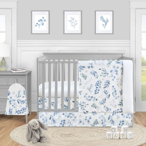 Floral Leaf Baby Boy or Girl Nursery Crib Bedding Set by Sweet Jojo Designs - 4 pieces - Blue Grey and White Boho Watercolor Botanical Flower Woodland Tropical Garden - Click to enlarge