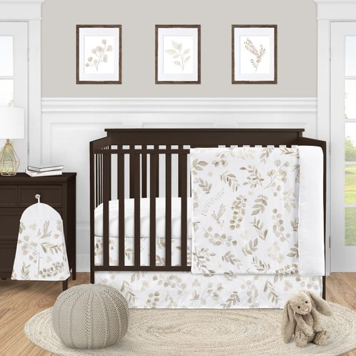 Floral Leaf Baby Boy or Girl Nursery Crib Bedding Set by Sweet Jojo Designs - 4 pieces - Gender Neutral Ivory Cream Beige Taupe and White Gender Neutral Boho Watercolor Botanical Flower Woodland Tropical Garden - Click to enlarge