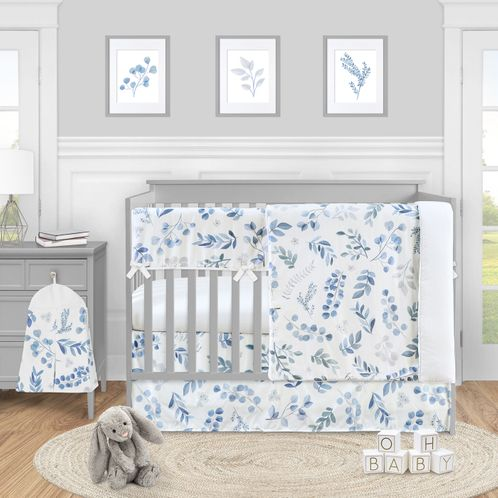 Floral Leaf Baby Boy or Girl Nursery Crib Bedding Set by Sweet Jojo Designs - 5 pieces - Blue Grey and White Boho Watercolor Botanical Flower Woodland Tropical Garden - Click to enlarge