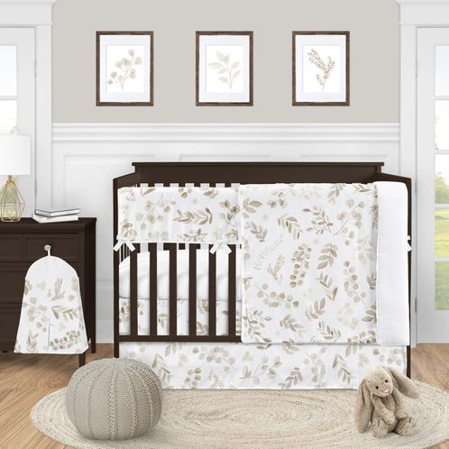 Floral Leaf Baby Boy or Girl Nursery Crib Bedding Set by Sweet Jojo Designs - 5 pieces - Gender Neutral Ivory Cream Beige Taupe and White Gender Neutral Boho Watercolor Botanical Flower Woodland Tropical Garden - Click to enlarge