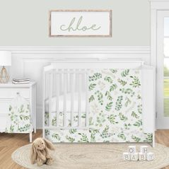 Floral Leaf Baby Girl Nursery Crib Bedding Set by Sweet Jojo Designs - 4 pieces - Green and White Boho Watercolor Botanical Woodland Tropical Garden