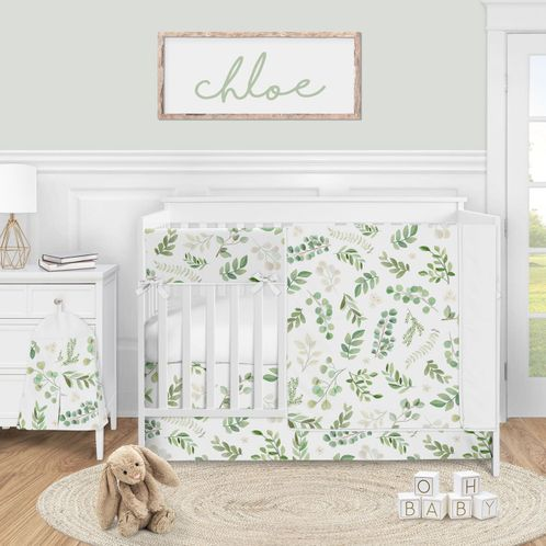 Floral Leaf Baby Girl Nursery Crib Bedding Set by Sweet Jojo Designs - 5 pieces - Green and White Boho Watercolor Botanical Woodland Tropical Garden - Click to enlarge