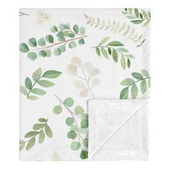 Floral Leaf Baby Girl Receiving Security Swaddle Blanket for Newborn or Toddler Nursery Car Seat Stroller Soft Minky by Sweet Jojo Designs - Green White Boho Watercolor Botanical Woodland Tropical Garden