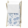 Floral Leaf Baby Kid Clothes Laundry Hamper by Sweet Jojo Designs - Blue Grey and White Boho Watercolor Botanical Flower Woodland Tropical Garden