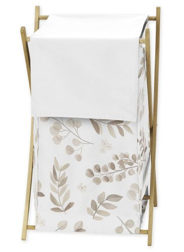 Floral Leaf Baby Kid Clothes Laundry Hamper by Sweet Jojo Designs - Ivory Cream Beige Taupe and White Gender Neutral Boho Watercolor Botanical Flower Woodland Tropical Garden - Click to enlarge