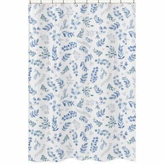 Floral Leaf Bathroom Fabric Bath Shower Curtain by Sweet Jojo Designs - Blue Grey and White Boho Watercolor Botanical Flower Woodland Tropical Garden