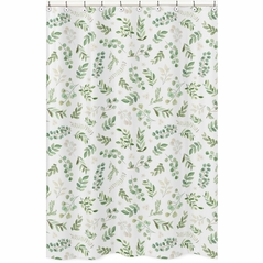 Floral Leaf Bathroom Fabric Bath Shower Curtain by Sweet Jojo Designs - Green and White Boho Watercolor Botanical Woodland Tropical Garden