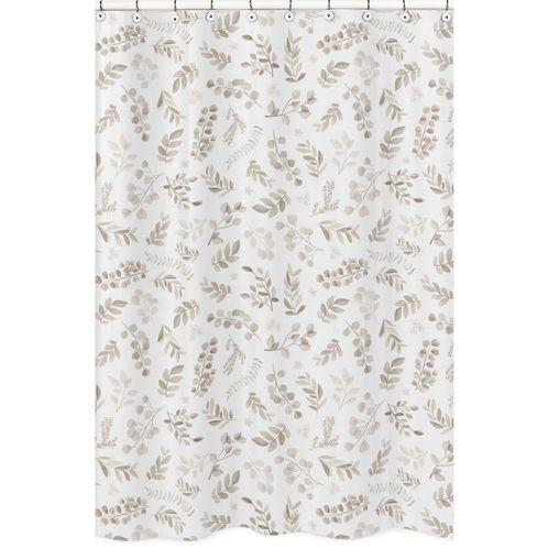Floral Leaf Bathroom Fabric Bath Shower Curtain by Sweet Jojo Designs - Ivory Cream Beige Taupe and White Gender Neutral Boho Watercolor Botanical Flower Woodland Tropical Garden - Click to enlarge