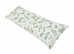 Floral Leaf Body Pillow Case Cover by Sweet Jojo Designs (Pillow Not Included) - Green and White Boho Watercolor Botanical Woodland Tropical Garden