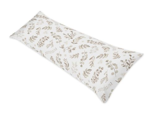 Floral Leaf Body Pillow Case Cover by Sweet Jojo Designs (Pillow Not Included) - Ivory Cream Beige Taupe and White Gender Neutral Boho Watercolor Botanical Flower Woodland Tropical Garden - Click to enlarge