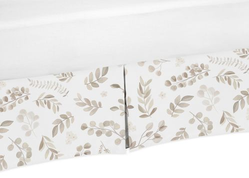 Floral Leaf Boy or Girl Baby Nursery Crib Bed Skirt Dust Ruffle by Sweet Jojo Designs - Ivory Cream Beige Taupe and White Gender Neutral Boho Watercolor Botanical Flower Woodland Tropical Garden - Click to enlarge