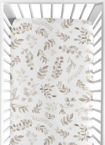 Floral Leaf Boy or Girl Fitted Crib Sheet Baby or Toddler Bed Nursery by Sweet Jojo Designs - Gender Neutral Ivory Cream Beige Taupe and White Gender Neutral Boho Watercolor Botanical Flower Woodland Tropical Garden - Click to enlarge