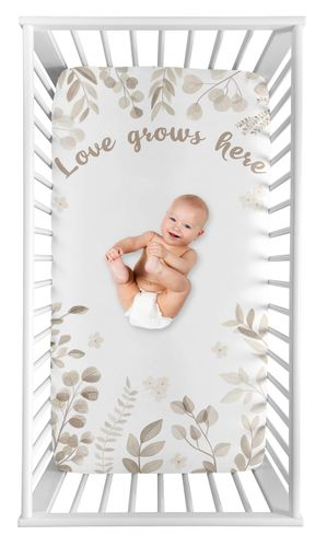 Floral Leaf Boy or Girl Fitted Crib Sheet Baby or Toddler Bed Nursery Photo Op by Sweet Jojo Designs - Gender Neutral Ivory Cream Beige Taupe and White Gender Neutral Boho Watercolor Botanical Flower Woodland Tropical Garden - Click to enlarge