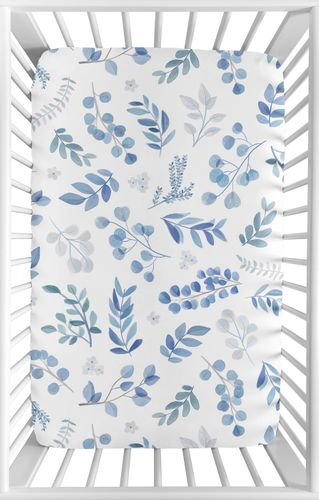 Floral Leaf Boy or Girl Fitted Mini Crib Sheet Baby Nursery by Sweet Jojo Designs For Portable Crib or Pack and Play - Blue Grey and White Boho Watercolor Botanical Flower Woodland Tropical Garden - Click to enlarge