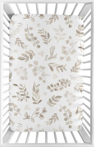 Floral Leaf Boy or Girl Fitted Mini Crib Sheet Baby Nursery by Sweet Jojo Designs For Portable Crib or Pack and Play - Gender Neutral Ivory Cream Beige Taupe and White Gender Neutral Boho Watercolor Botanical Flower Woodland Tropical Garden - Click to enlarge
