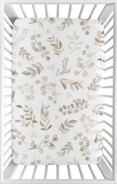 Floral Leaf Boy or Girl Fitted Mini Crib Sheet Baby Nursery by Sweet Jojo Designs For Portable Crib or Pack and Play - Gender Neutral Ivory Cream Beige Taupe and White Gender Neutral Boho Watercolor Botanical Flower Woodland Tropical Garden