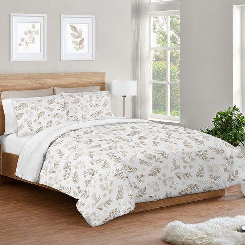 Floral Leaf Boy or Girl Full / Queen Bedding Comforter Set Kids Childrens Size by Sweet Jojo Designs - 3 pieces - Ivory Cream Beige Taupe and White Gender Neutral Boho Watercolor Botanical Flower Woodland Tropical Garden - Click to enlarge
