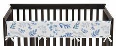 Floral Leaf Boy or Girl Long Front Crib Rail Guard Baby Teething Cover Protector Wrap by Sweet Jojo Designs - Blue Grey and White Boho Watercolor Botanical Flower Woodland Tropical Garden