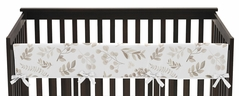 Floral Leaf Boy or Girl Long Front Crib Rail Guard Baby Teething Cover Protector Wrap by Sweet Jojo Designs - Ivory Cream Beige Taupe and White Gender Neutral Boho Watercolor Botanical Flower Woodland Tropical Garden