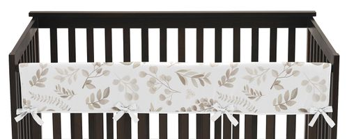 Floral Leaf Boy or Girl Long Front Crib Rail Guard Baby Teething Cover Protector Wrap by Sweet Jojo Designs - Ivory Cream Beige Taupe and White Gender Neutral Boho Watercolor Botanical Flower Woodland Tropical Garden - Click to enlarge