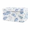 Floral Leaf Boy or Girl Small Fabric Toy Bin Storage Box Chest For Baby Nursery or Kids Room by Sweet Jojo Designs - Blue Grey and White Boho Watercolor Botanical Flower Woodland Tropical Garden