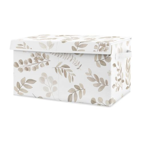 Floral Leaf Boy or Girl Small Fabric Toy Bin Storage Box Chest For Baby Nursery or Kids Room by Sweet Jojo Designs - Ivory Cream Beige Taupe and White Gender Neutral Boho Watercolor Botanical Flower Woodland Tropical Garden - Click to enlarge